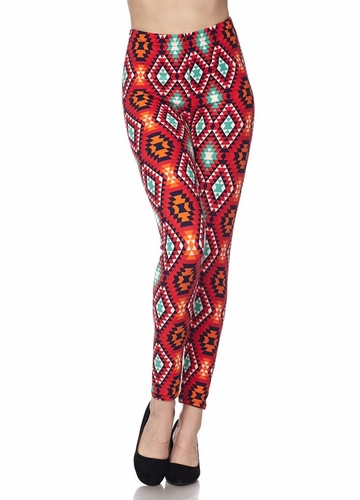 Red Kaleidoscope Peach Skin Leggings