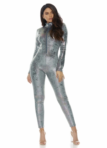 Reptile Zip Front Catsuit In Silvery Blue