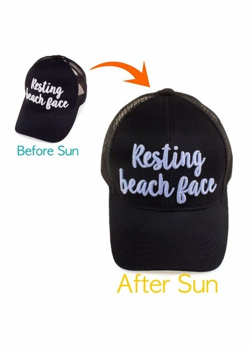 Resting Beach Face Color Changing CC Ponytail Baseball Hat