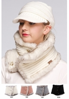 Reversible Knit and Faux Fur Neck Warmer