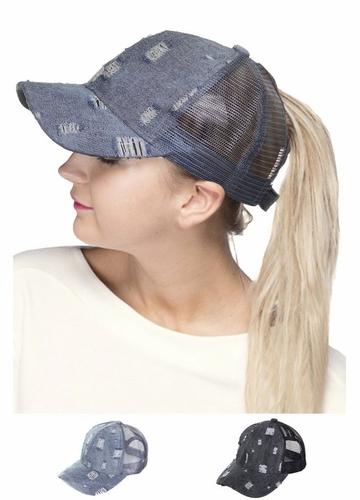 Ripped Denim Ponytail Baseball Hat by CC Brand