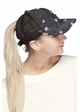 Ripped Denim Ponytail Baseball Hat by CC Brand inset 1