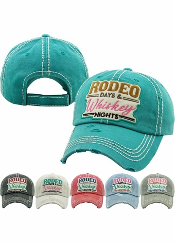 RODEO DAYS & WHISKEY NIGHTS Vintage Baseball Hat
