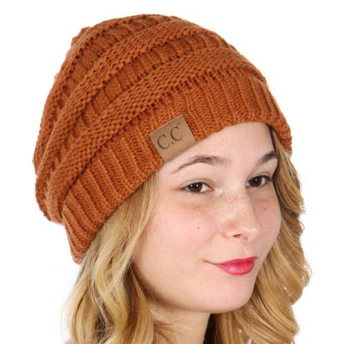 08d971461c1 Rust Ribbed Knit CC Beanie Hat