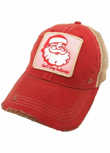 Santa Don't Stop Believin' Red Baseball Hat