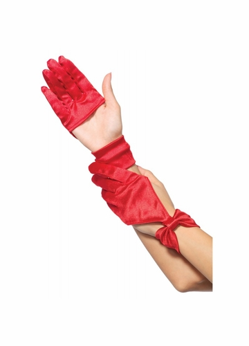 Satin Cutout Glove with Bow