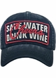 Save Water Drink Wine Vintage Baseball Hat inset 1