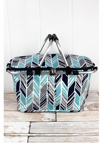 Seaside Stripes Collapsible Insulated Market Basket with Lid