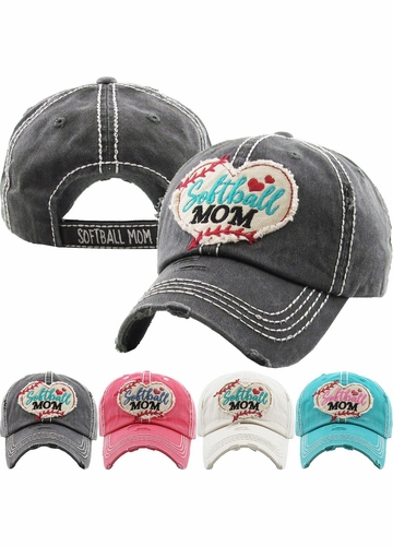 Softball Mom Washed Vintage Ballcap