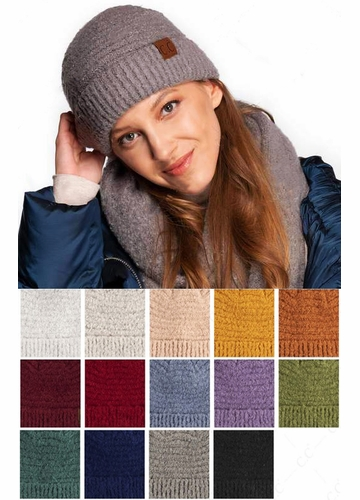 Solid Color Boucle Yarn CC Beanie Hat