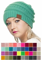 Solid Color Groove Knit Beanie Hats by CC Brand