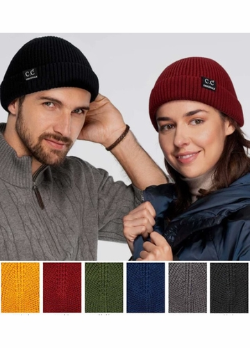 Solid Color Knit Fisherman CC Beanie