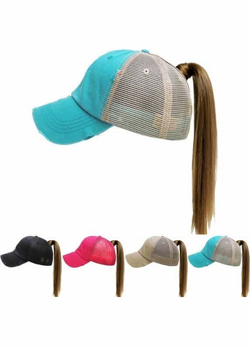 Solid Cotton Trucker Ponytail Hat with Mesh