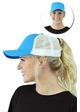 Solid Cotton Trucker Ponytail Hat with Mesh inset 1