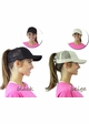Solid Cotton Trucker Ponytail Hat with Mesh inset 3