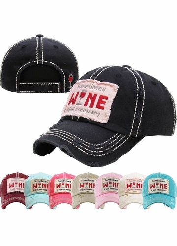 Sometimes Wine is Just Necessary Vintage Baseball Hat