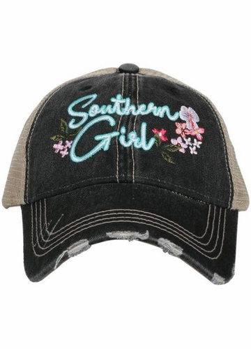 Southern Girl with Flowers Trucker Hat