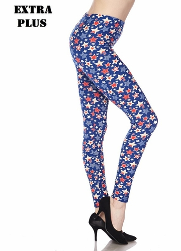 Stars Print Peach Skin Leggings