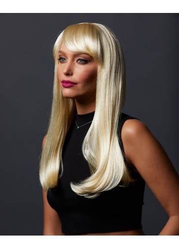 Straight Long Kelly Wig with Full Bangs in California Blonde