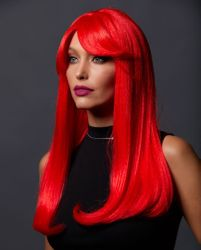 Straight Long Kelly Wig with Full Bangs in Red Ruby