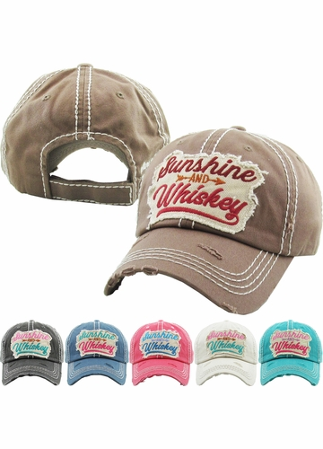 SUNSHINE AND WHISKEY Vintage Multi Color Patch Ballcap