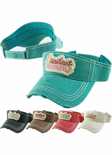 Sunshine & Whiskey Washed Vintage Sun Visor