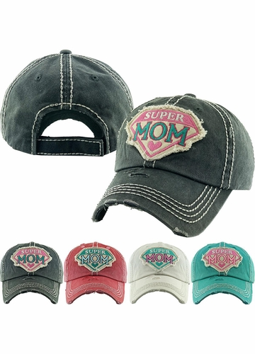 Super Mom Vintage Patch Baseball Hat