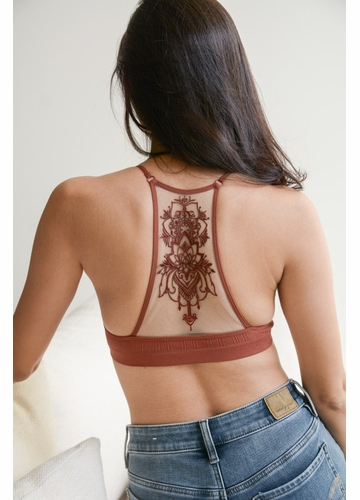 Tattoo Mesh Racerback Bralette in Rust