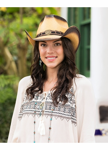 Tea Stain Cowgirl Hat with Star