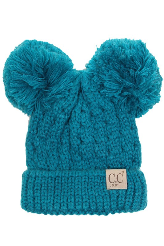 1ca85ae9fc1 Teal Kids Knit Solid Color CC Beanie Hat with Two Pom Poms