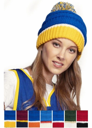 Team Tri-Color CC Beanie Hat with Pom