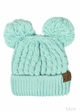 Thick Knit CC Beanie Hat with Double Pom inset 1