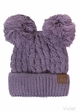 Thick Knit CC Beanie Hat with Double Pom inset 4