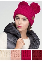 Thick Knit CC Beanie Hat with Double Pom