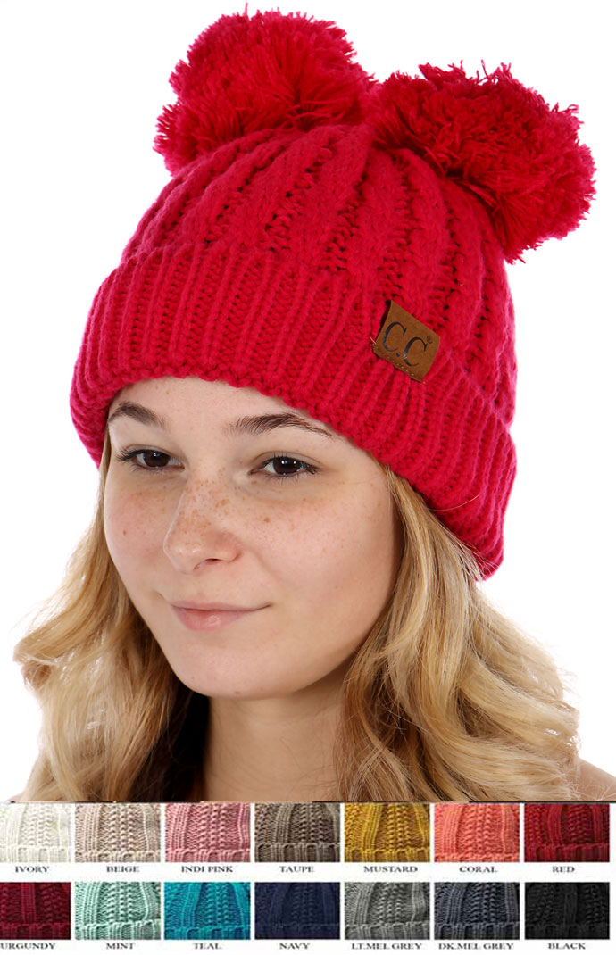 Thick Knit CC Beanie Hat with Double Pom f291e339b34
