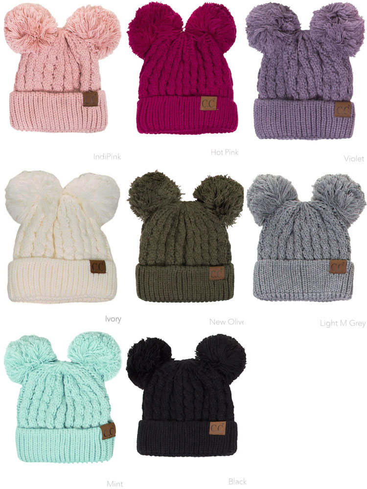 7b0d61deee4bc8 ... Thick Knit CC Beanie Hat with Double Pom inset 3 ...