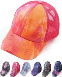 Tie Dye Criss Cross Ponytail Trucker Cap