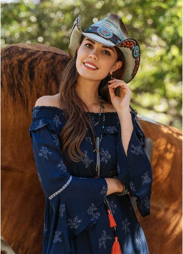 Turquoise Straw Cowgirl Hat