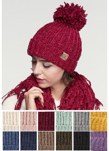 Twisty Chenille Knit CC Beanie Hat