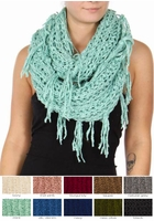 Twisty Chenille Yarn Infinity CC Scarf with Fringe