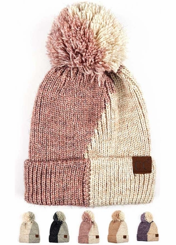 Two Color Knit CC Beanie Hat with Pom