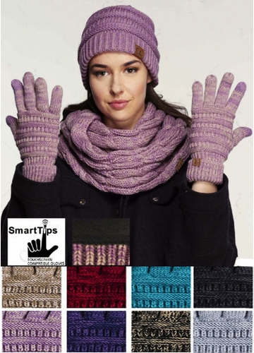 Two Tone Smart Tip CC Gloves with Lining