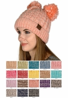 Two Tone Thick Knit CC Beanie with Double Pom