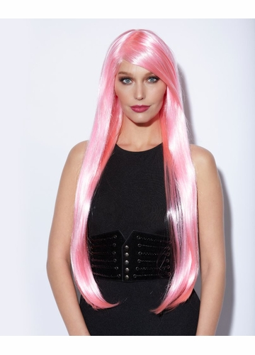 Waist Long Wig in Cotton Candy Pink Color