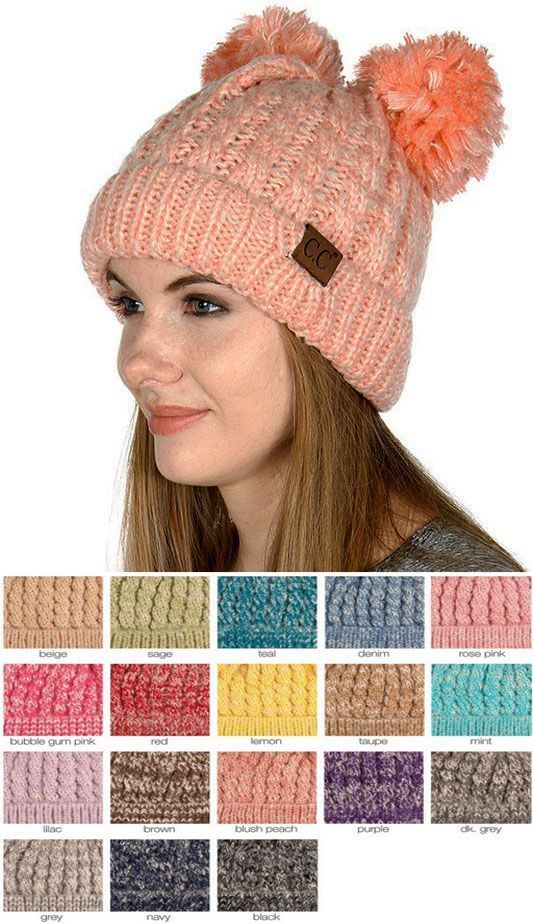 Two Tone Thick Knit CC Beanie with Double Pom fa4a575f720