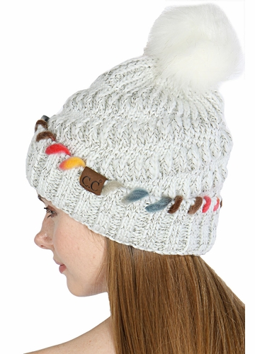 Warm CC Hat with Pom and Ombre Trim