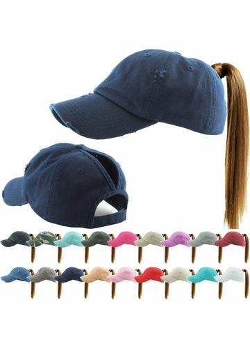 Washed Cotton Ponytail Baseball Hat available in 20 colors