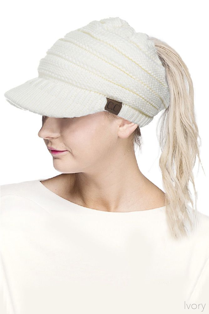 6e24071066927 white-cc-beanie-hat-with-brim-and-ponytail-opening-2.jpg