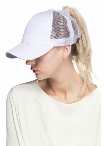 White CC Top Knot Trucker Hat
