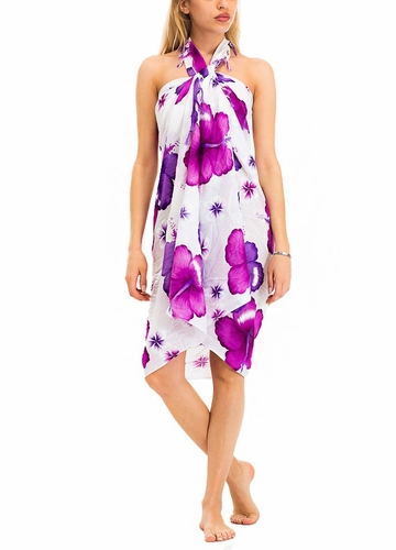 White Cotton Sarong with Hibiscus Flowers